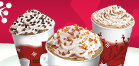 Warm up with a Caramel Brulee Latte, Peppermint Mocha, or Gingerbread Latte.